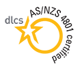 Logo with yellow circle and black writing showing AS/NZS 4801 certified.